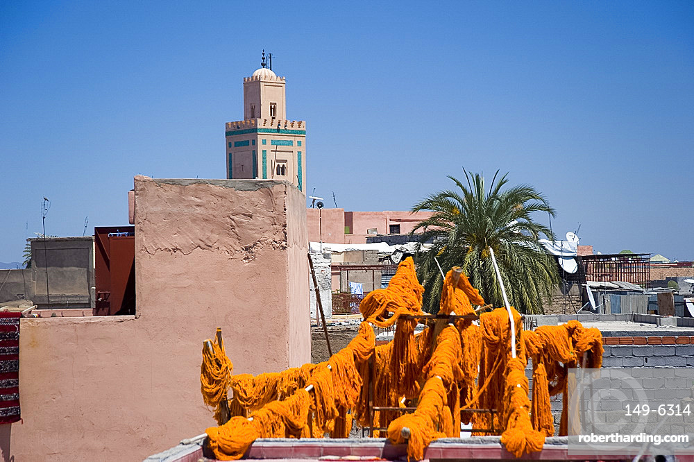 Brightly coloured wool hanging to dry in the dyers souk, Marrakech, Morocco, North Africa, Africa