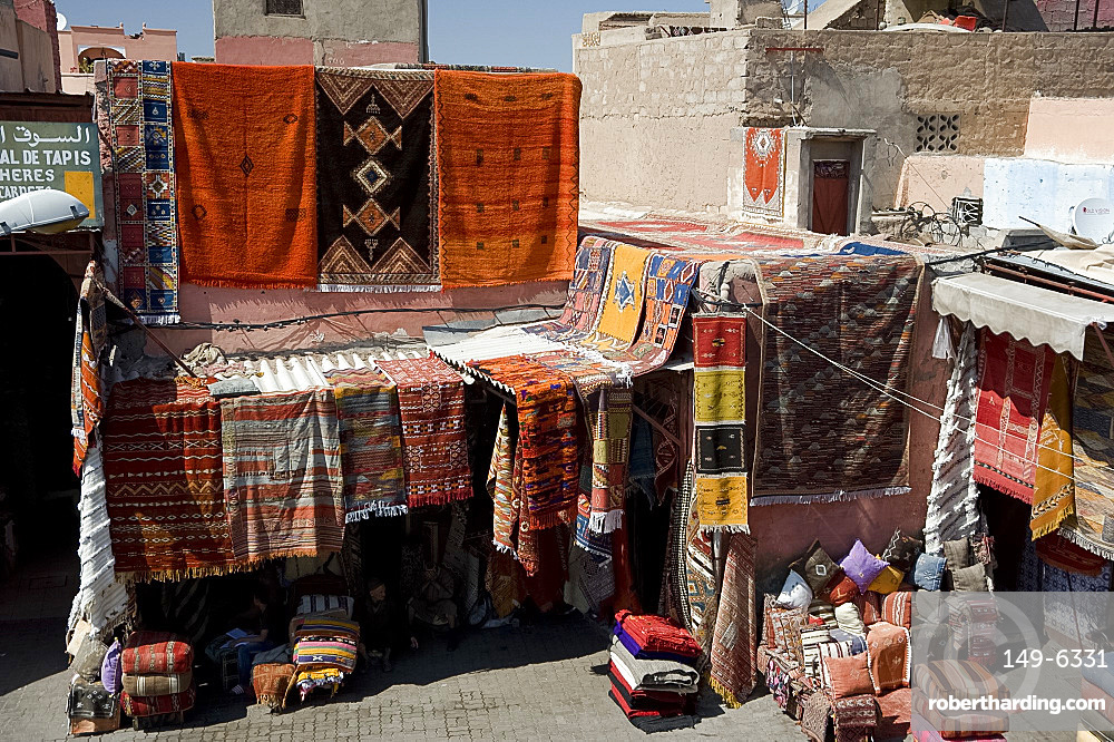 Colourful wool carpets hanging in the souk in Marrakech,  Morocco, North Africa, Africa