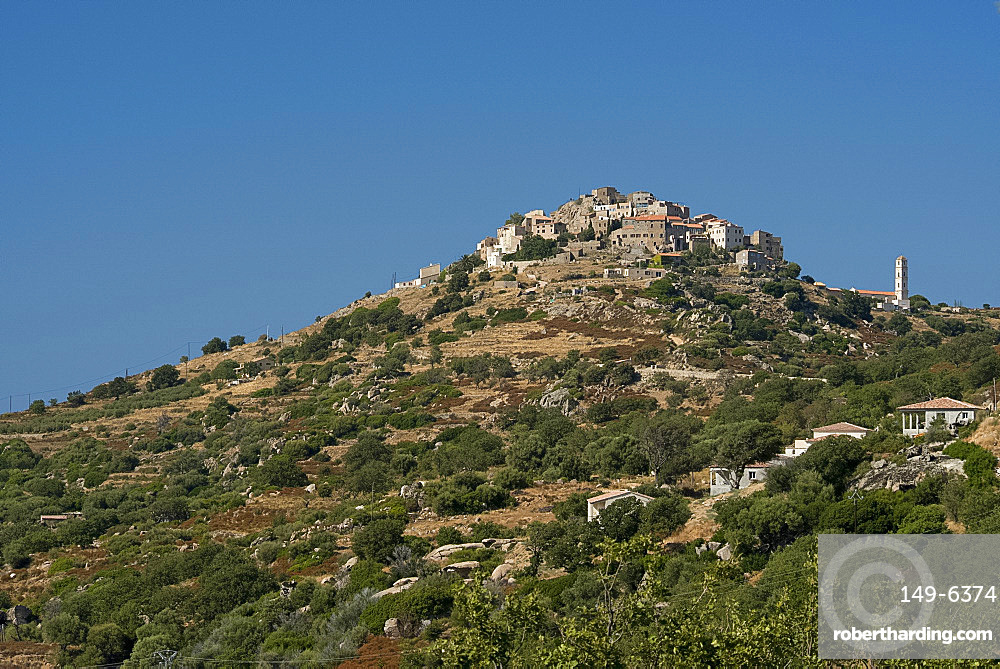 The hilltop village of St. Antonino in the Haute-Balagne region of Corsica, France, Europe