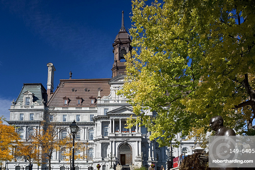 The Hotel de Ville surrounded by autumn foliage, Montreal, Quebec Province, Canada, North America