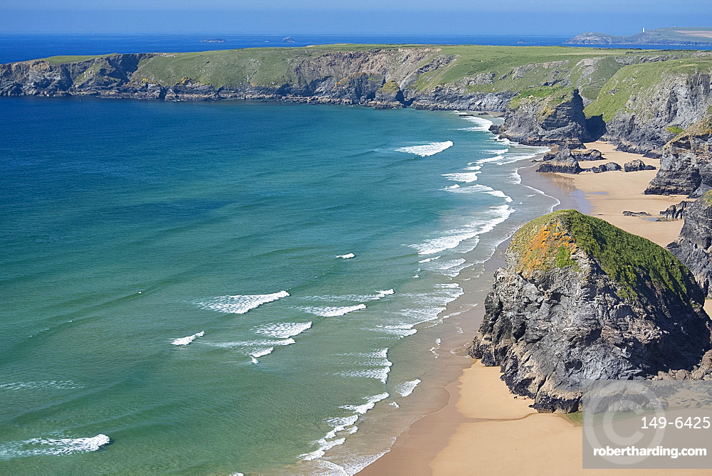 A view of The Bedruthan Steps, Cornwall, England, United Kingdom, Europe