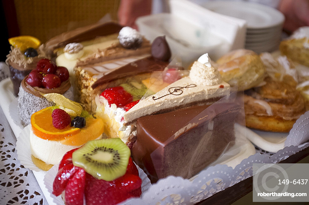 A pastry tray at Cafe Tomaselli, Altstadt, Salzburg, Austria, Europe