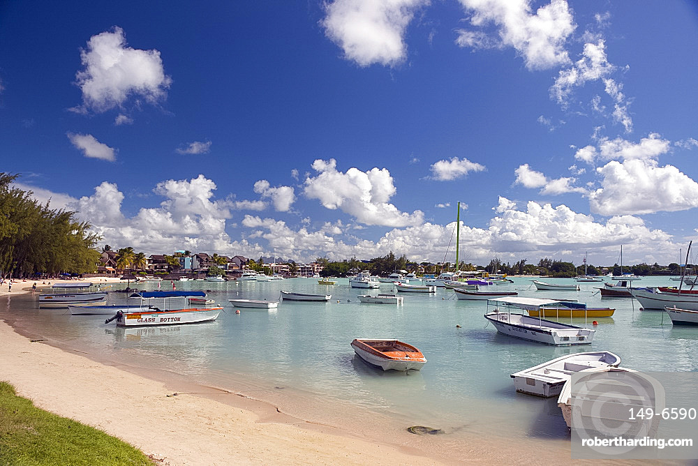 Boats moored in Grand Baie on the north west coast of Mauritius, Indian Ocean, Africa
