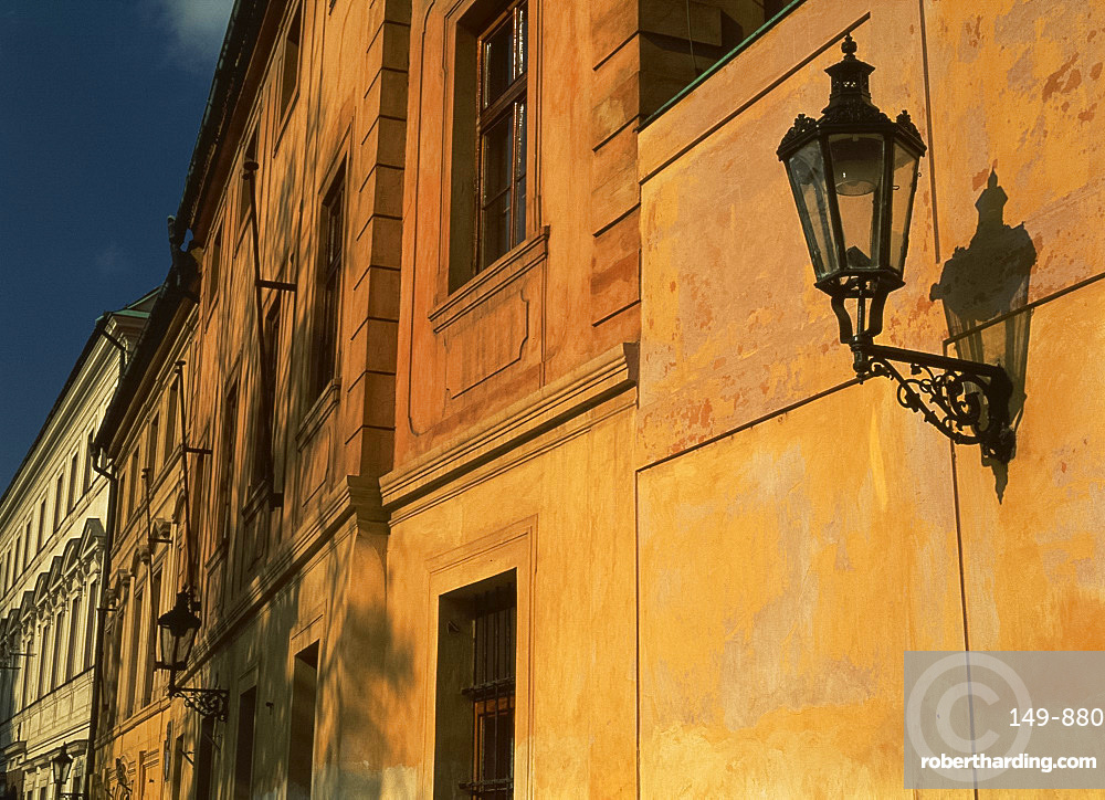Close-up of street lamp on the wall of a house near the castle in Prague, Czech Republic, Europe