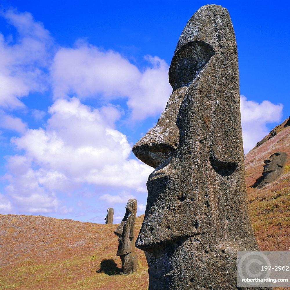 Volcan Rano Raraku, southern slope, birthplace of countless moai, Easter Island, Chile