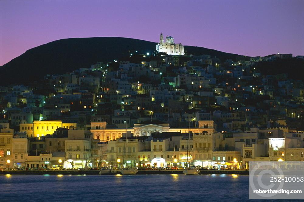 City skyline and church of Anastasis, Ermoupolis City, Syros Island, Cyclades Islands, Greece, Europe