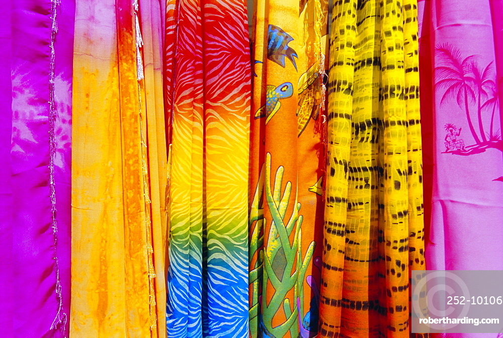 Colourful clothes hanging in a shop, St. Lucia, Windward Islands, West Indies, Caribbean, Central America