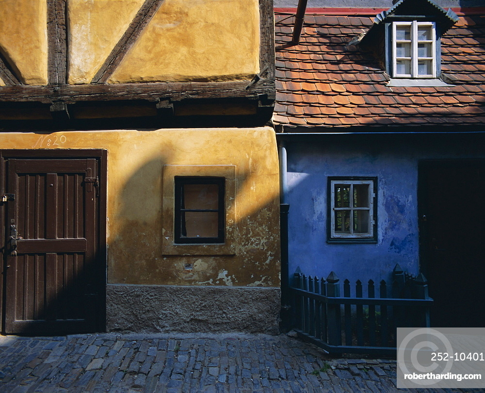 Colourful old buildings in Golden Lane, Prague, Czech Republic, Europe