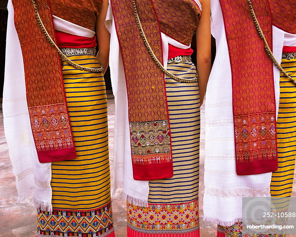 Close-up of traditional North Thai dance costume, Chiang Mai, Thailand, Southeast Asia, Asia