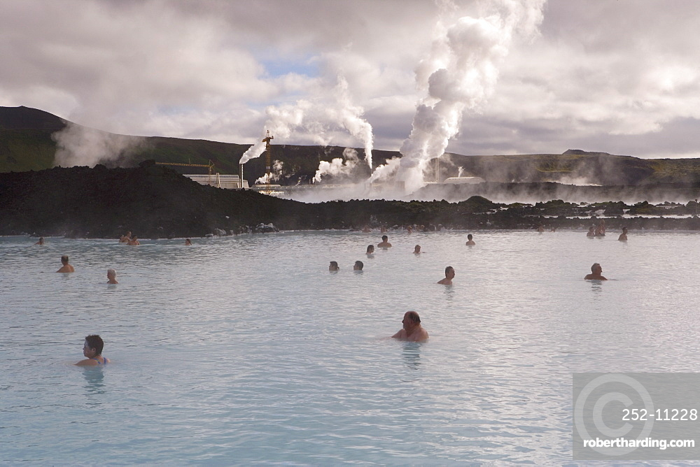 Water rich in blue-green algae (cyanobacteria), mineral salts and fine silica mud at the geothermal spa that owes its existence to the Svartsengi geothermal power plant, Blue Lagoon, near Reykjavik, Iceland, Polar Regions