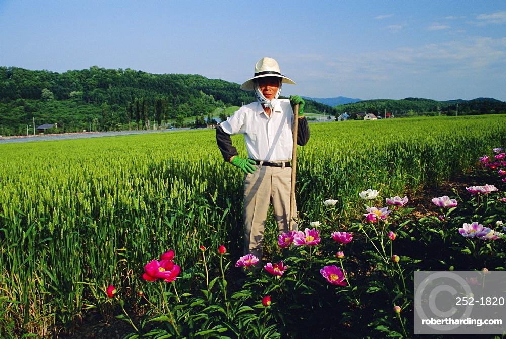 Furano farmer, Hokkaido, Japan