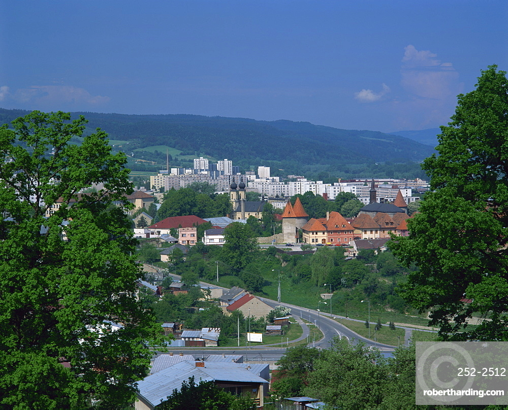 Contrast of old and new buildings in the town of Bardejov, Slovakia, Europe