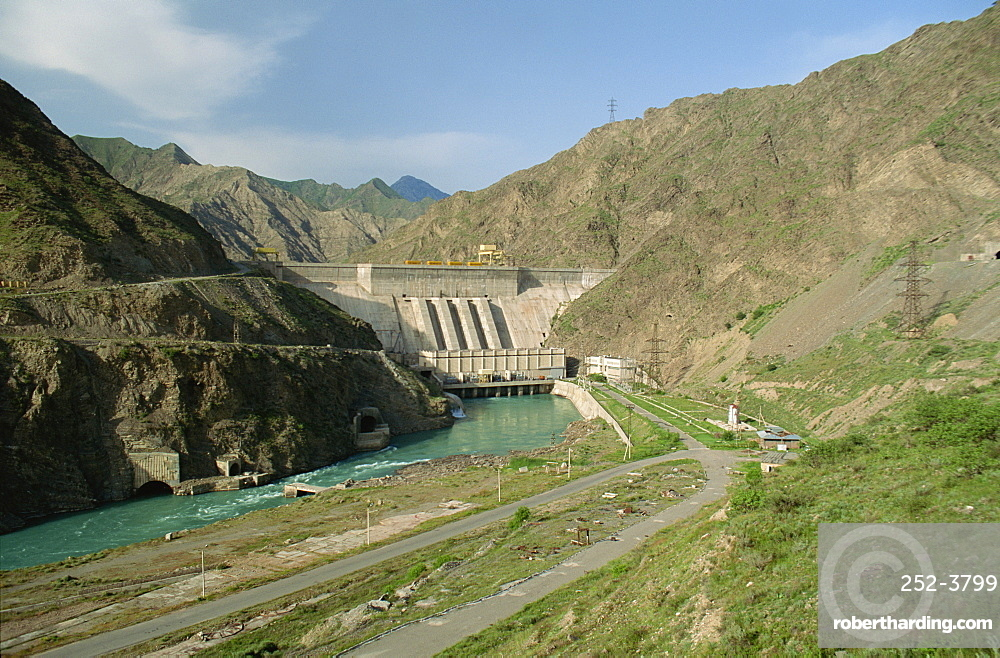 Tokogul Dam, a hydroelectric project on the Naryn River, Kirghizstan, Central Asia, Asia
