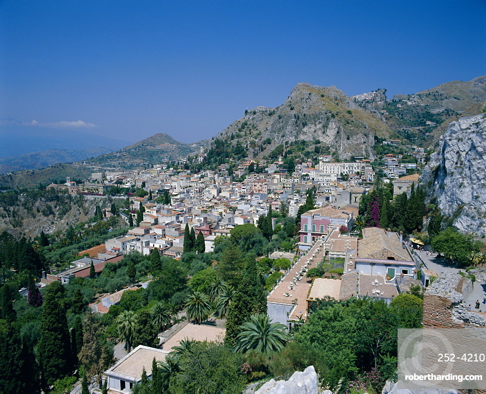 View from the Greek-Roman theatre, Taormina, Sicily, Italy, Europe