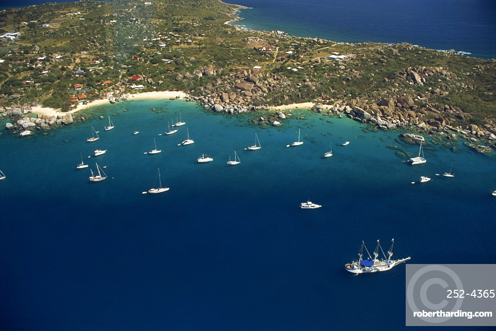 Aerial view over boats moored off the coast of St. Thomas, U.S. Virgin Islands, West Indies, Caribbean, Central America