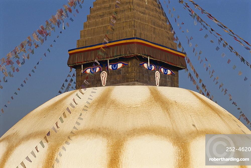 The largest stupa in Nepal, at Bodhnath, UNESCO World Heritage Site, Kathmandu, Nepal, Asia