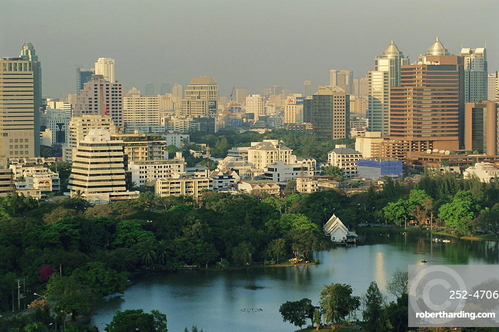 Skyline over Lumphini Park, Bangkok, Thailand, Asia