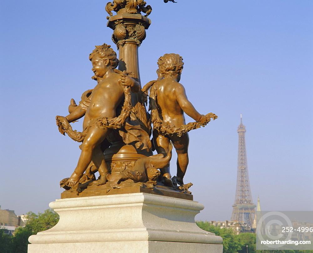 Eiffel Tower from the Pont Alexandre III (bridge), Paris, France, Europe