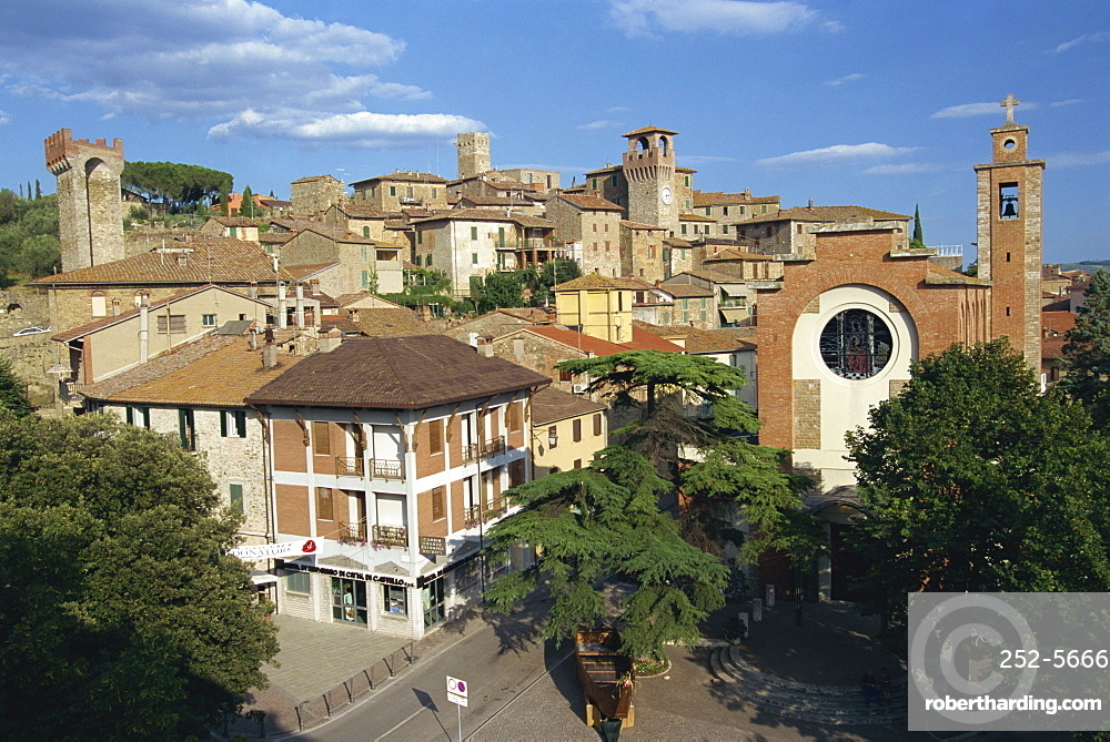 Houses, churches and towers in the town of Passignano on Lake Trasimene in Umbria, Italy, Europe