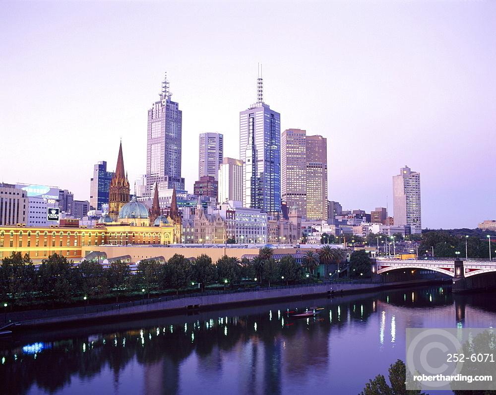 The city skyline from Southgate, Melbourne, Victoria, Australia
