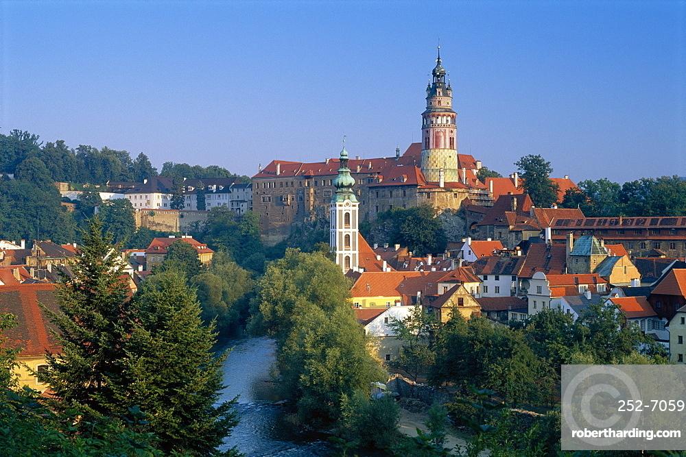Krumlov Castle/Round Tower, Cesky Krumlov, South Bohemia, Czech Republic. *** Local Caption ***