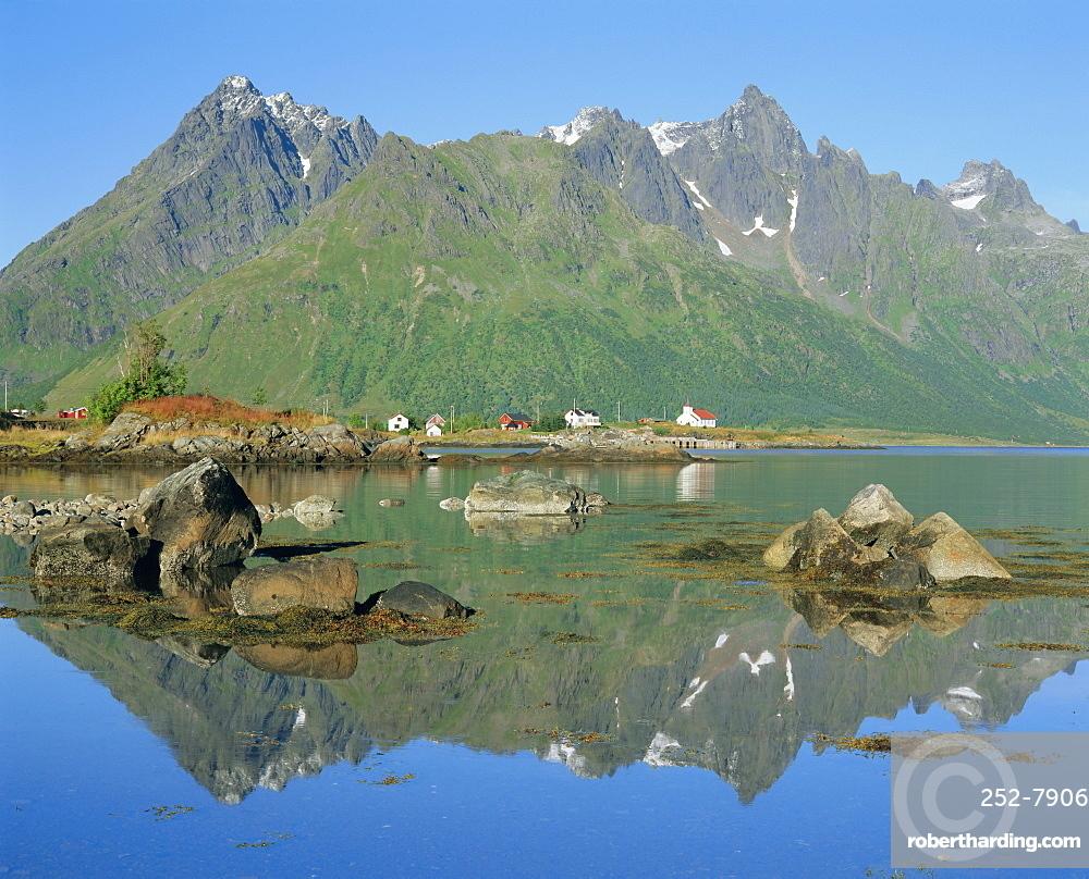 Red church on Austnesfjord, Lofoten Islands, Nordland, Norway, Scandinavia