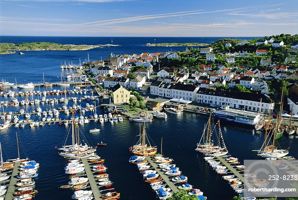 Risor, white town on the Skagerrak, South Coast, Norway, Scandinavia, Europe