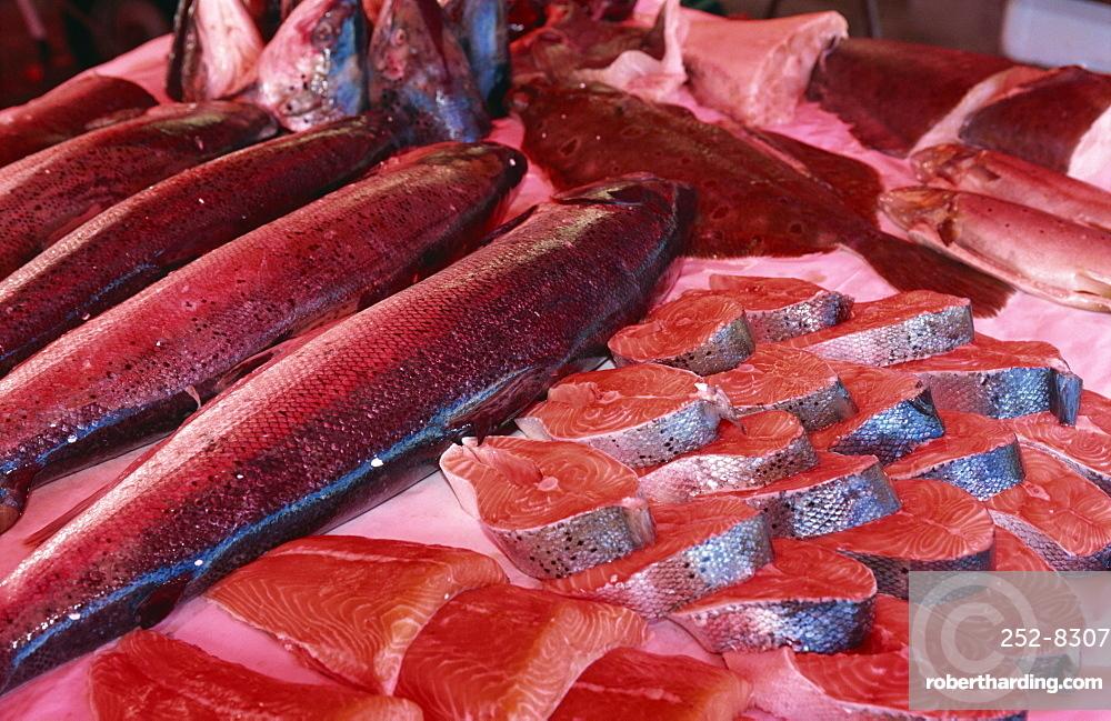 Central fish market, Torget, Bergen, Western Fjords, Norway, Scandinavia, Europe