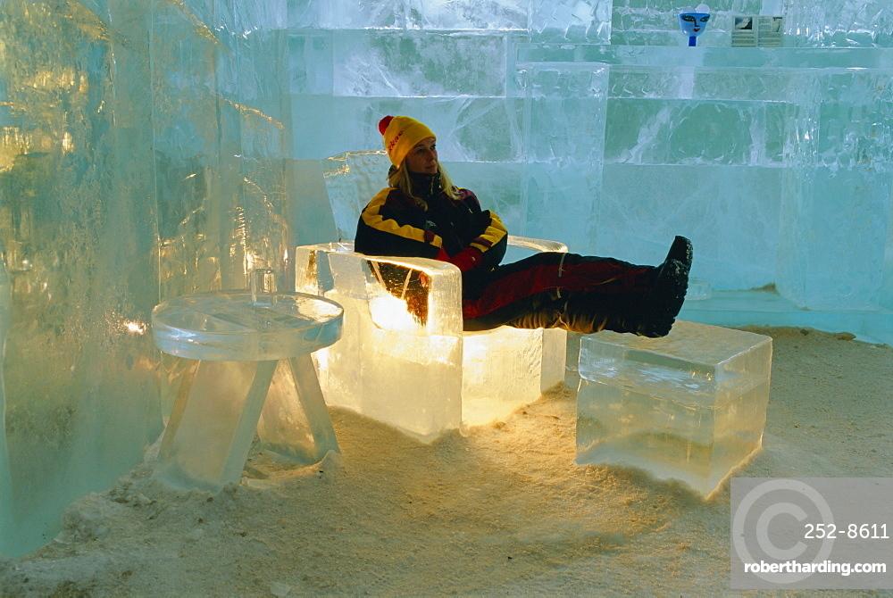 The Ice Hotel, near Kiruna, Jukkasjarvi, Lappland, Sweden, Scandinavia, Europe