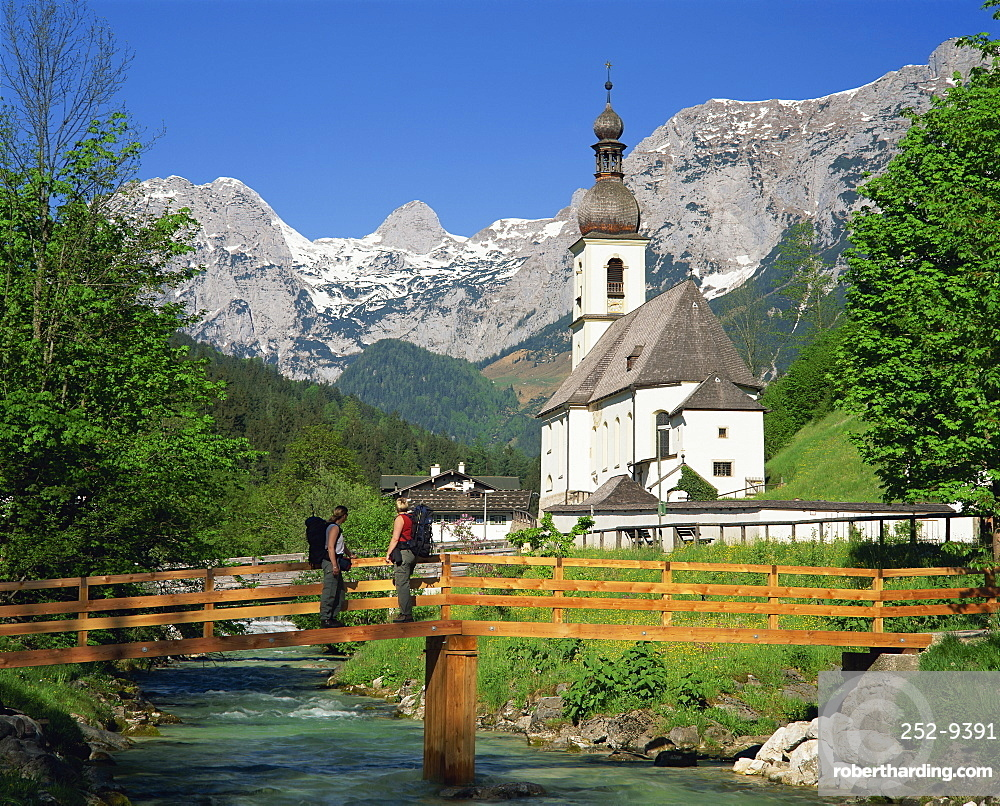 Ramsau village church and mountains, Bavaria, Germany, Europe