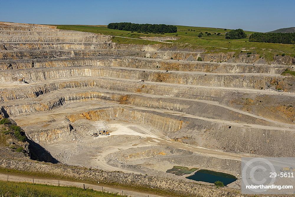 Hope Cement Works limestone quarry, Peak District National Park, Castleton, Derbyshire, England, United Kingdom, Europe