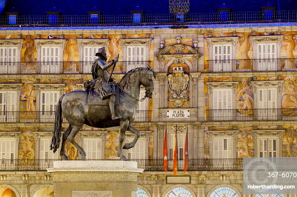 Plaza Mayor statue of Philip III, Madrid, Spain, Europe