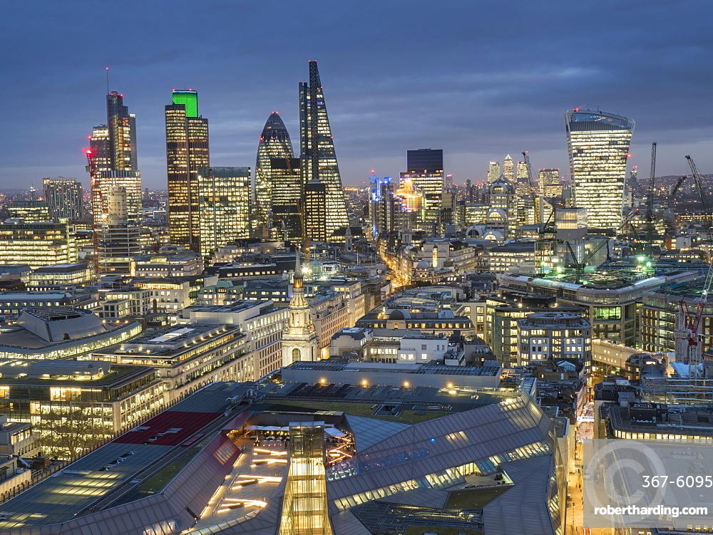 City of London skyline at dusk, London, England, United Kingdom, Europe