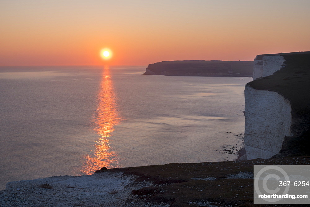 Seven Sisters chalk cliffs at sunset, South Downs National Park, East Sussex, England, United Kingdom, Europe