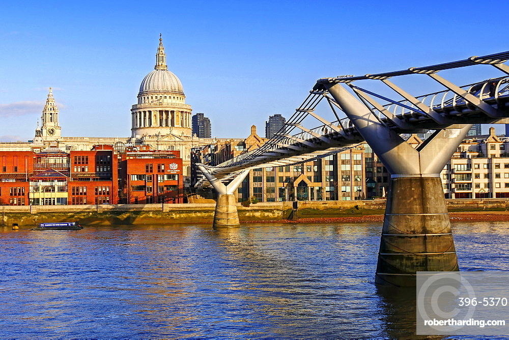 Millennium Bridge, Thames River and St. Pauls Cathedral, London, England, United Kingdom, Europe