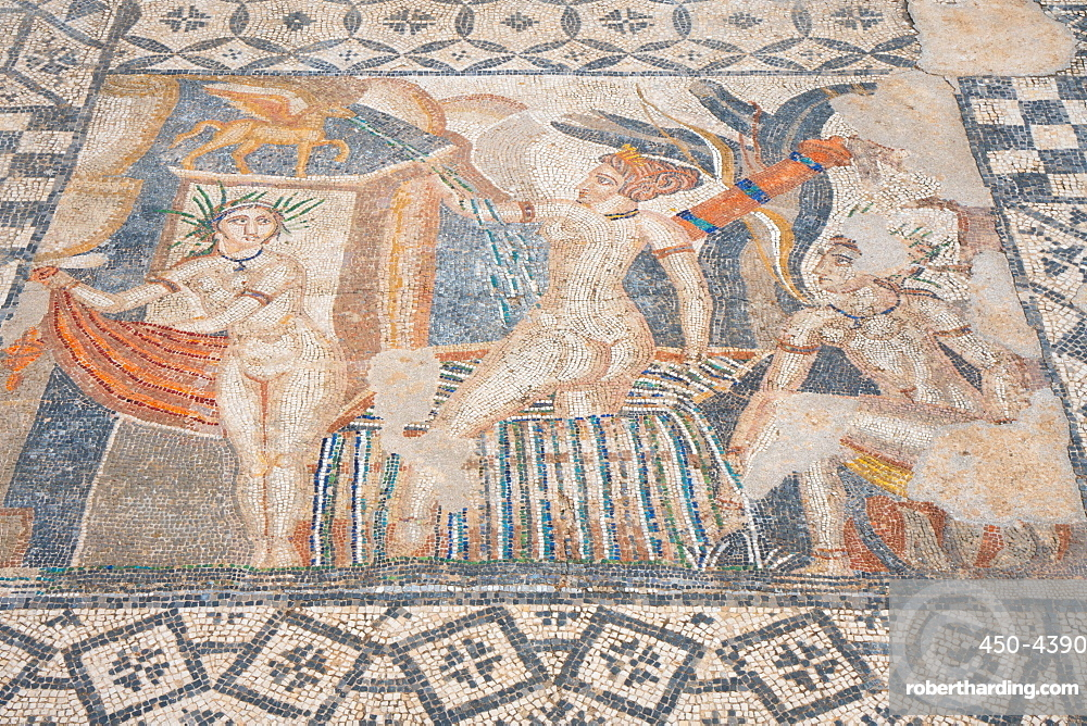 Mosaic of Diana and the bathing Nymphs from the Roman ruins, Volubilis, UNESCO World Heritage Site, near Meknes, Morocco, North Africa, Africa