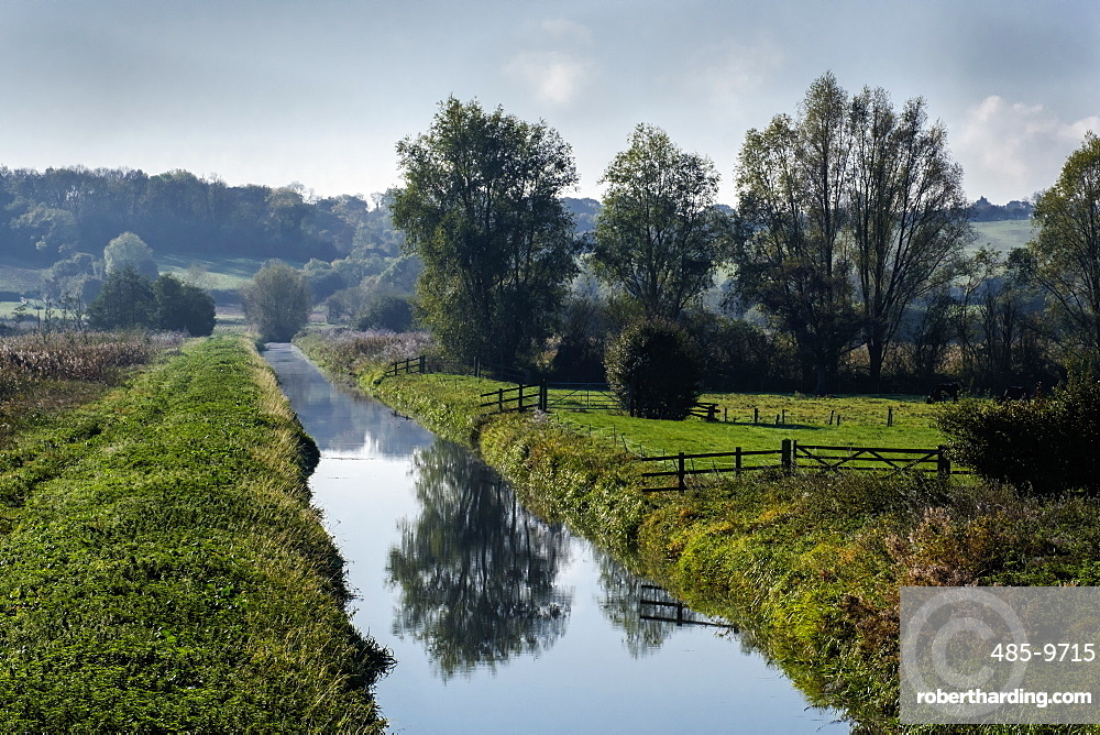 A drainage channel and farmland of the Somerset Levels, Ham Wall, Somerset, England, United Kingdom, Europe