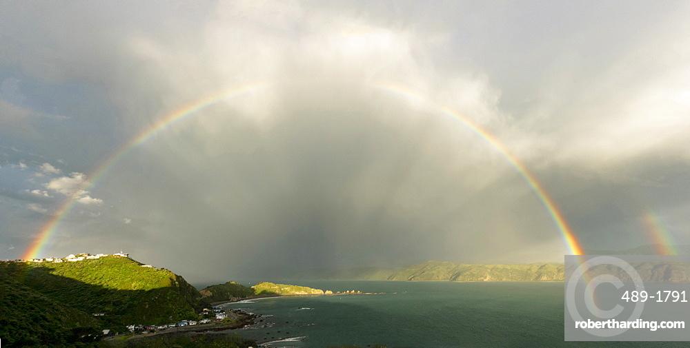 Rainbow over Breaker Bay in Wellington, New Zealand, Oceania