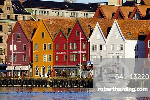 Traditional wooden Hanseatic merchants buildings of the Bryggen, UNESCO World Heritage Site, in harbour, Bergen, Hordaland, Norway, Scandinavia, Europe