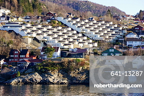 Fjord side housing development near Bergen, Hordaland, Norway, Scandinavia, Europe