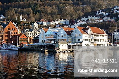 View on the harbour In Bryygen district, Bergen, Hordaland, Norway, Scandinavia, Europe