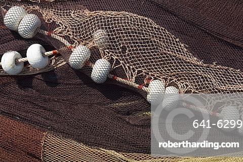Fishing nets, Saint Jean de Luz (St.-Jean-de-Luz), Basque country, Pyrenees-Atlantiques, Aquitaine, France, Europe