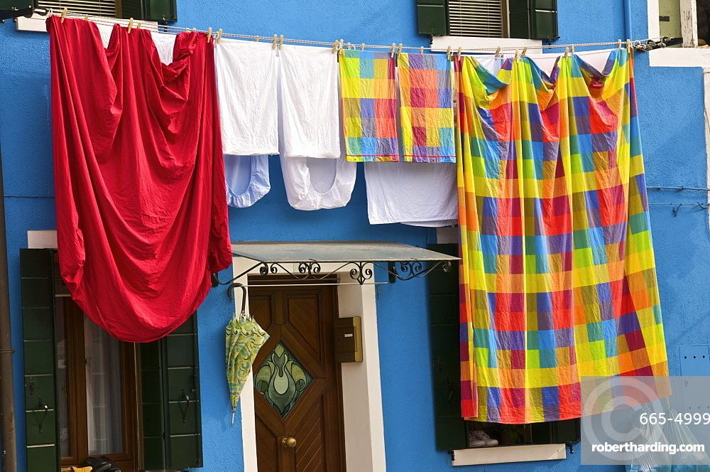 Washing day, Burano Island, Venice, Veneto, Italy, Europe