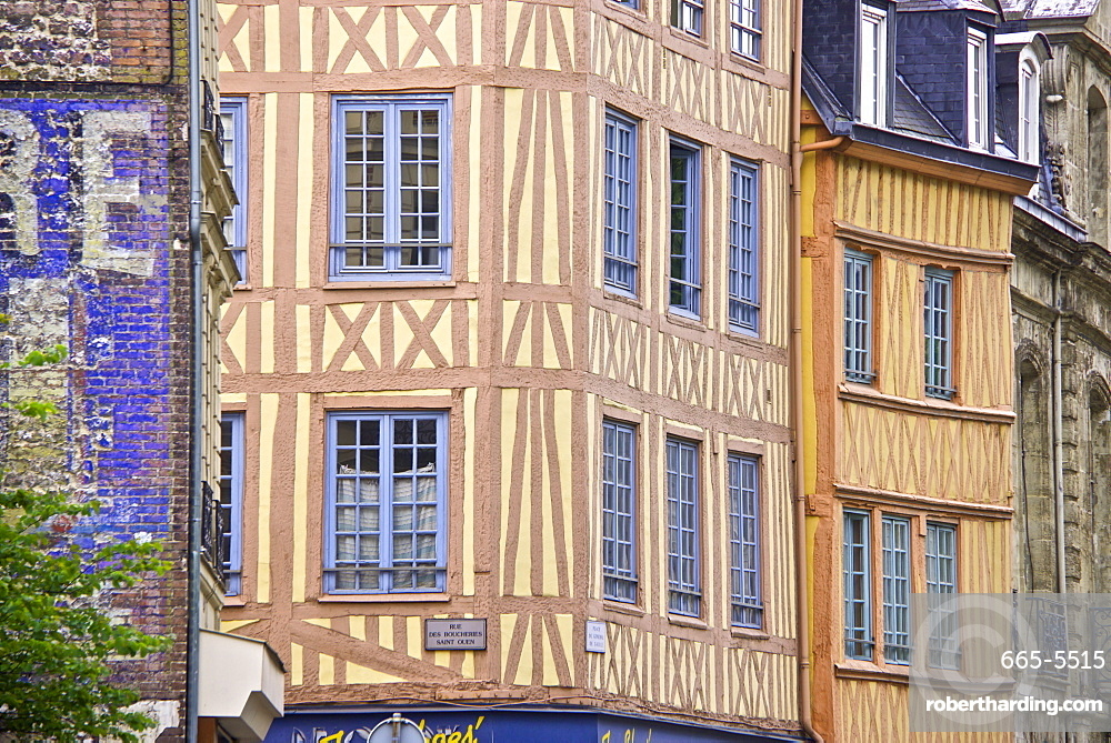 Half timbered Norman facades, Rouen, Normandy, France, Europe