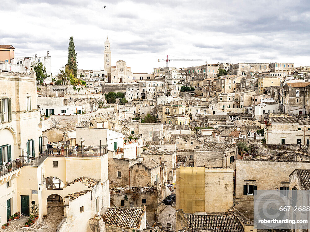 View of the Old Town, Matera, Basilicata, Puglia, Italy, Europe