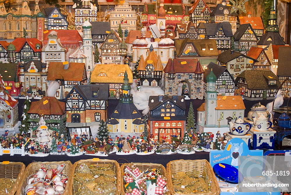 Ceramic houses, Weihnachtsmarkt (Children's Christmas Market), Nuremberg, Bavaria, Germany, Europe