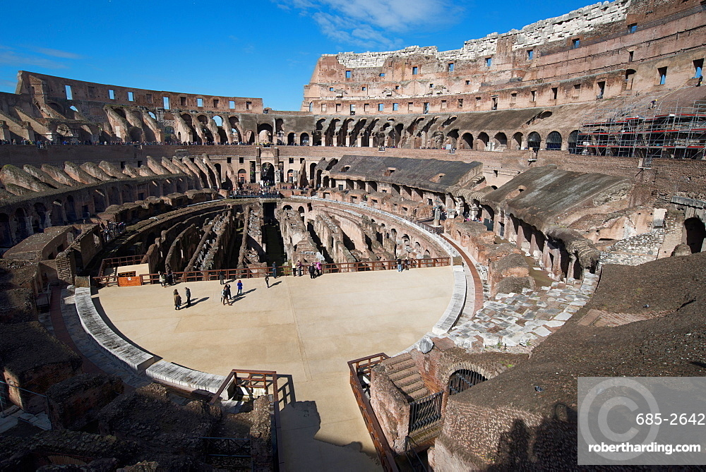 Remains of the Colosseum of Rome built around 70AD, allegedly the largest ever built, UNESCO World Heritage Site, Rome, Lazio, Italy, Europe