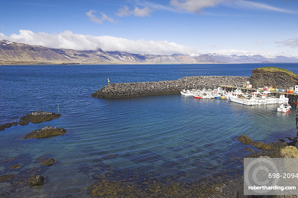 Small fishing boats and trawlers in Arnarstapi harbour, Snaefellsnes Peninsula, North West area, Iceland, Polar Regions