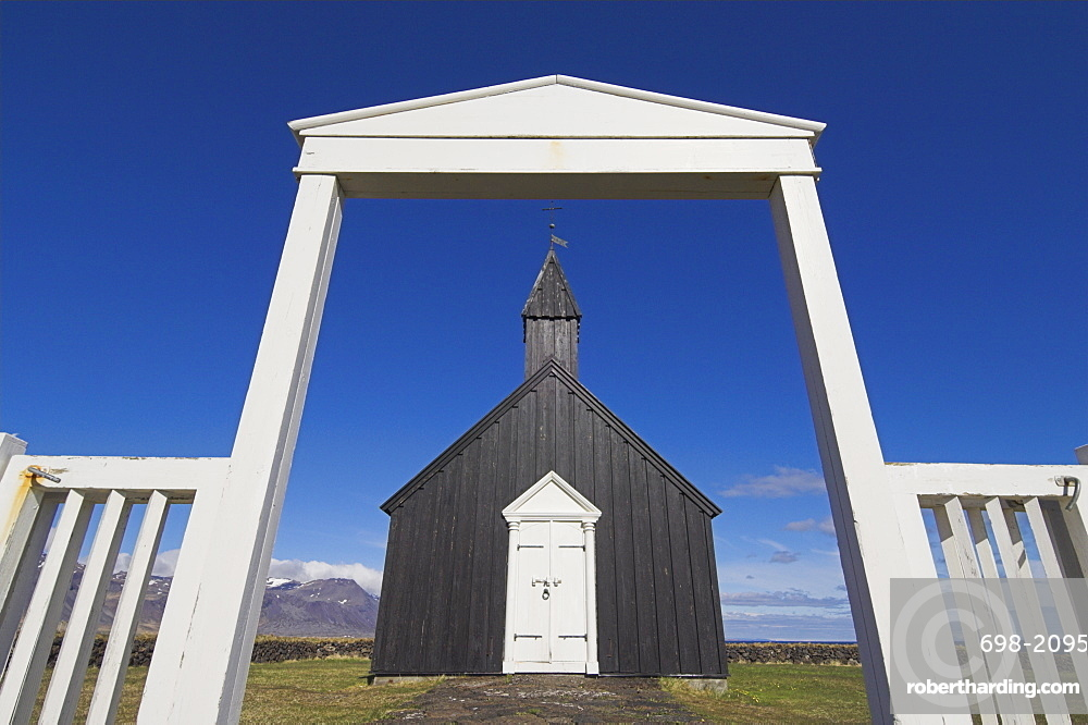 Black timber church at Budir, Snaefellsnes Peninsula, North West area, Iceland, Polar Regions