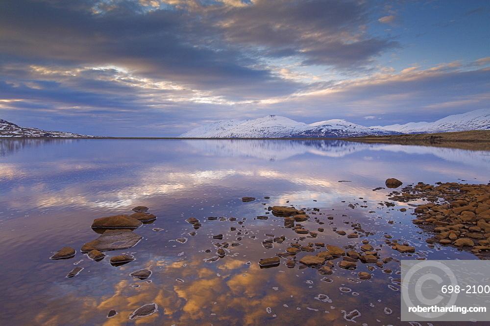 Sunset in Eyjafjordur, near Akureyri, North area, Iceland, Polar Regions